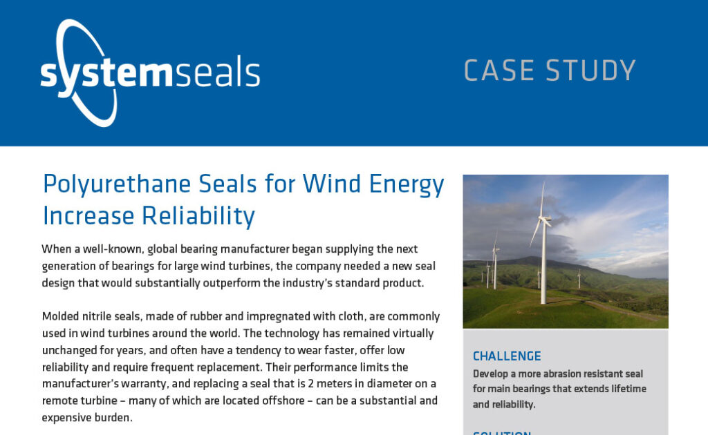 Polyurethane Seals for Wind Energy Increase Reliability